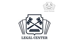Legal center vector icon of gavel and law code