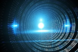 Spiral of shiny binary code