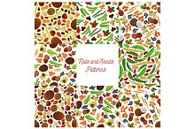 Nuts and seeds vector patterns set