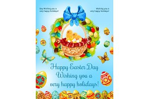 Easter spring holiday, egg hunt celebration poster