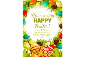 Easter egg wreath cartoon festive poster design