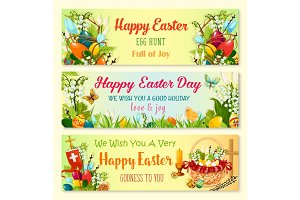 Easter Day and Egg Hunt celebration banner set