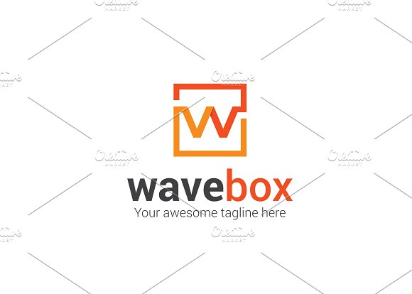 Wave Box W Letter Logo