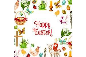 Easter symbols poster for greeting card design