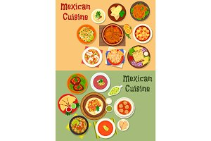Mexican cuisine dinner dish icon for menu design
