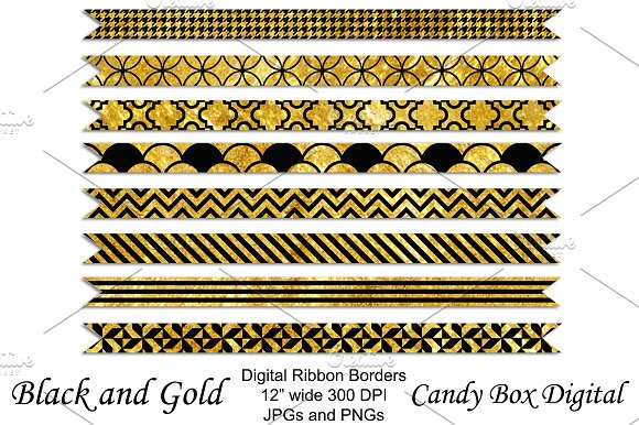gold and black ribbon borders graphic objects creative market