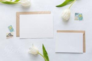 White Tulips & Kraft Invitation Set