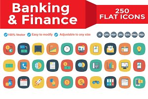 Banking & Finance Flat Square icons