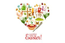 Heart with Easter holiday cartoon icons