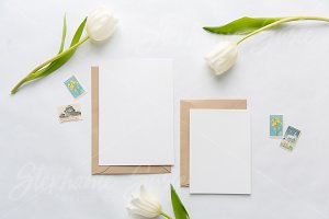 White Tulip Invitation Suite Mock Up