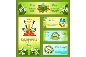 Easter holidays cartoon banner template set