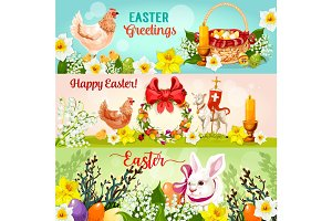 Happy Easter Day greetings banner set design