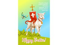 Easter lamb with cross cartoon greeting card