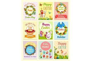 Easter egg and rabbit cartoon greeting card set