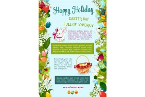 Easter Day, Happy Holiday greeting poster template