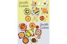 Jewish cuisine kosher food icon for menu design