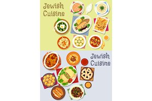 Jewish cuisine kosher food icon for menu design