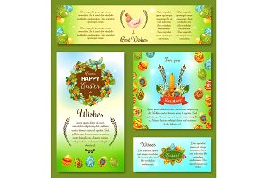 Happy Easter Day Wishes poster and banner template