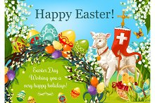 Happy Easter Day cartoon greeting poster design