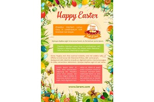 Easter poster template with egg and floral frame