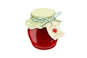 Strawberry jam jar. Vintage style