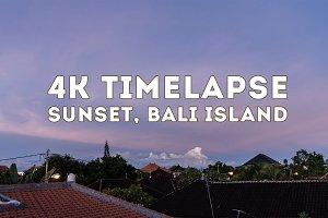 4K timelapse, sunset, Bali island