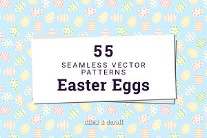 55 Easter Eggs Vector Patterns