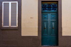 Blue Door Grey Wall