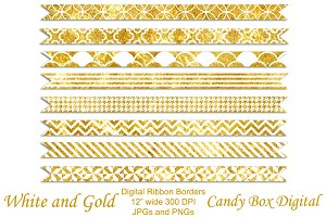 White and Gold Border Ribbons
