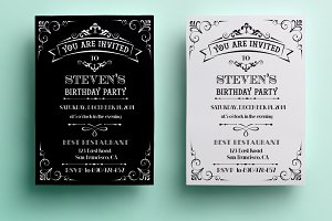 Vintage Birthday Invitation Invitation Templates Creative Market - Birthday invitation cards tumblr