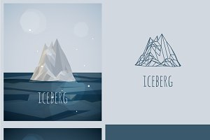 vector low-poly iceberg. poster