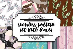 set seamless patterns with leaves