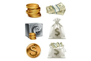 Paper money and gold coin, vector