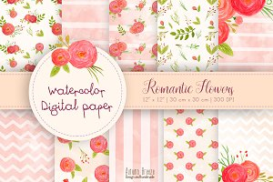 Romantic flowers digital paper