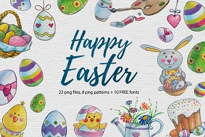 Easter Watercolor set + Free fonts
