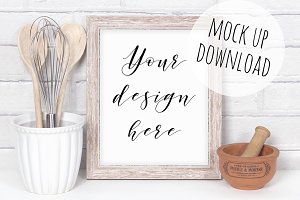 Rustic Kitchen Wooden Frame Mockup