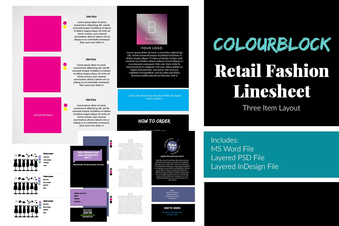 clothing line sheet template - 3 item retail fashion line sheet templates creative market