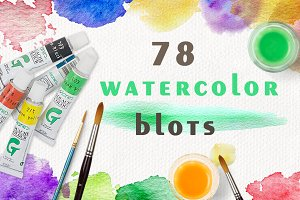 Set of watercolor blots