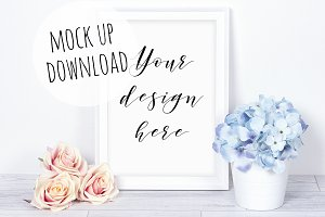 Floral White Frame Mockup Photo