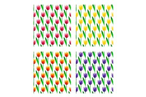 Set of seamless patterns with spring flowers of tulips.