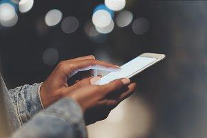 Girl enjoys smart phone