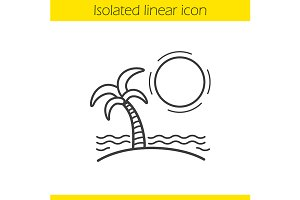 Tropical island icon. Vector