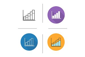 Growth chart. 4 icons. Vector
