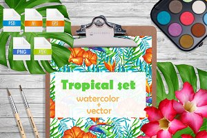 Tropical large set.Watercolor vector