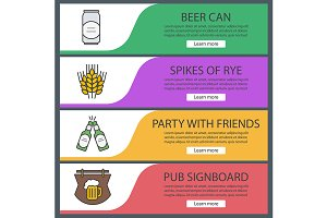 Beer banner templates set. Vector
