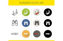 Camping equipment. 12 icons. Vector