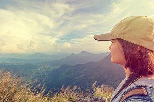 Vintage style hiker asian teen girl