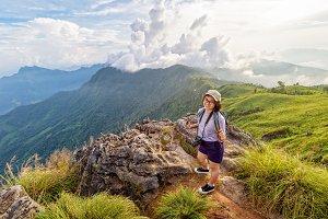 Girl tourist scenic mountains