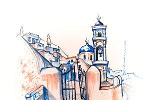 Imerovigli Anastasi Church of Santorini, Greece