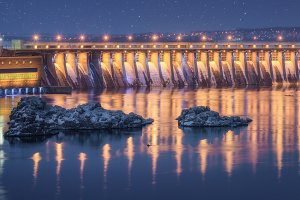 Hydroelectric power station at night